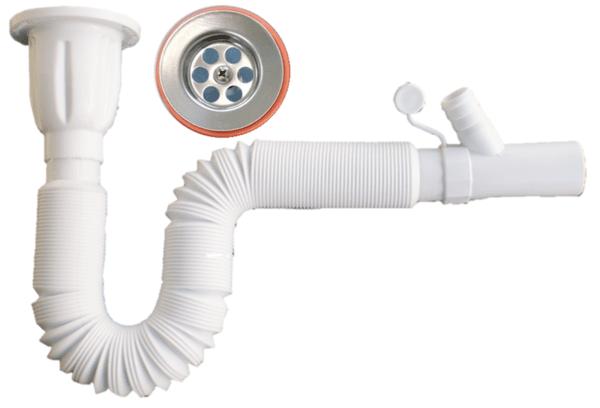 Сифон за мивка с удължена гофрирана връзка и разклонение за пералня